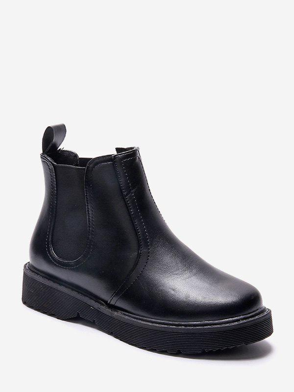 Solid Color Round Toe Chelsea Ankle Boots - BLACK EU 39