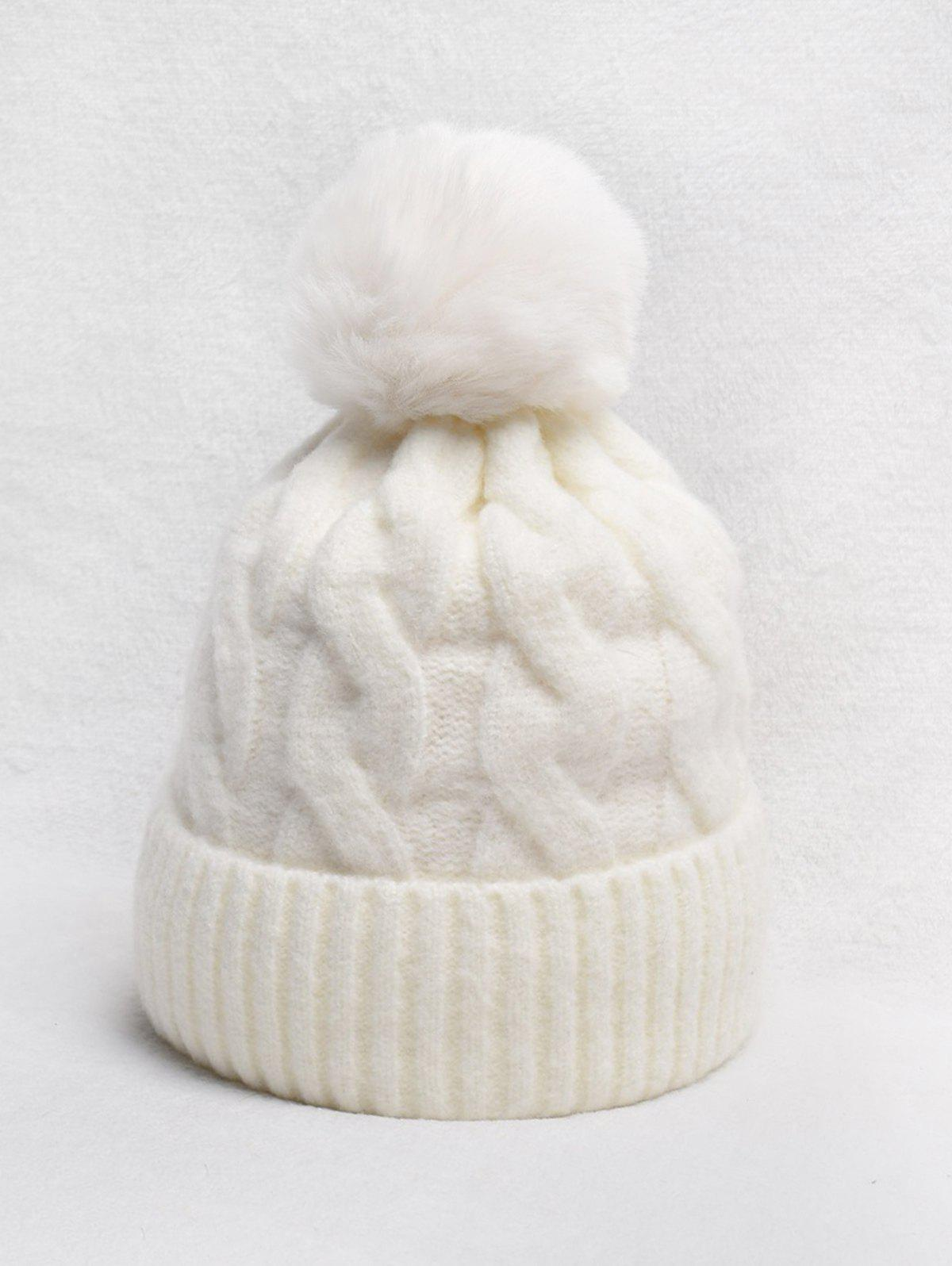 Turn Up Edge Braided Knitted Bobble Hat - WARM WHITE