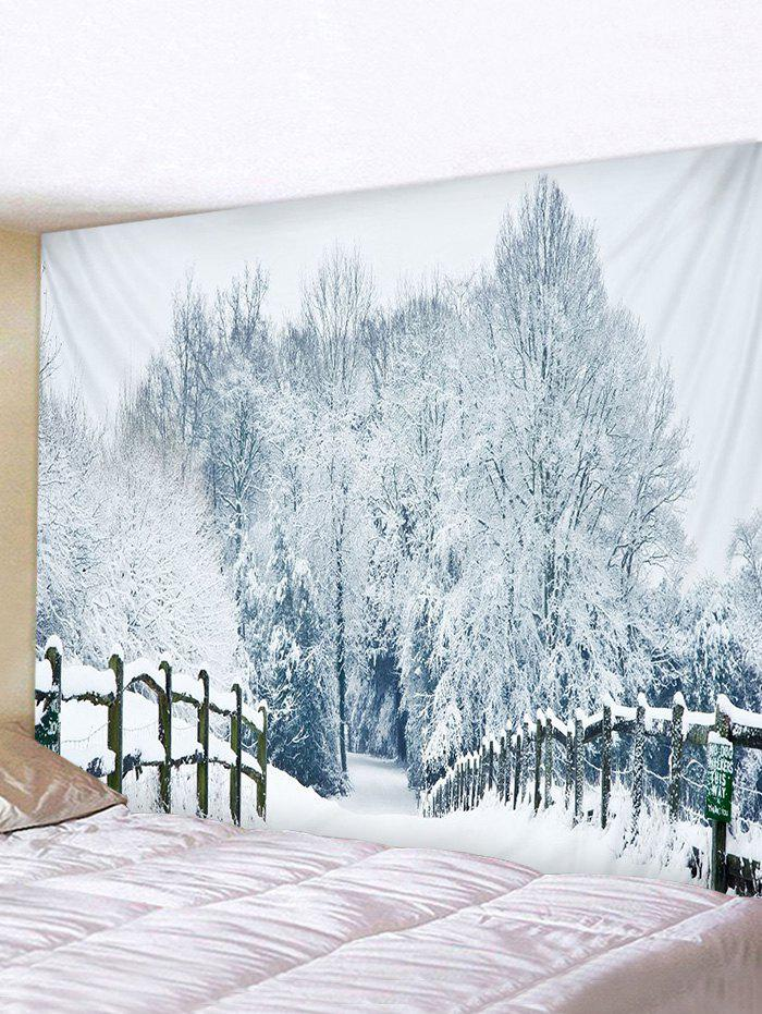 Snow Forest Bridge Road Print Tapestry Wall Hanging Art Decoration - multicolor W79 X L71 INCH