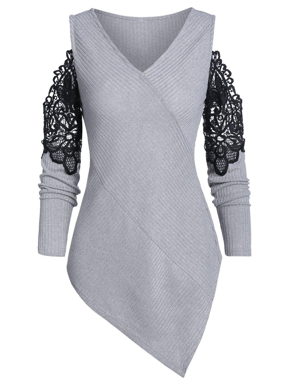 V Neck Lace Panel Asymmetric Sweater - LIGHT GRAY L