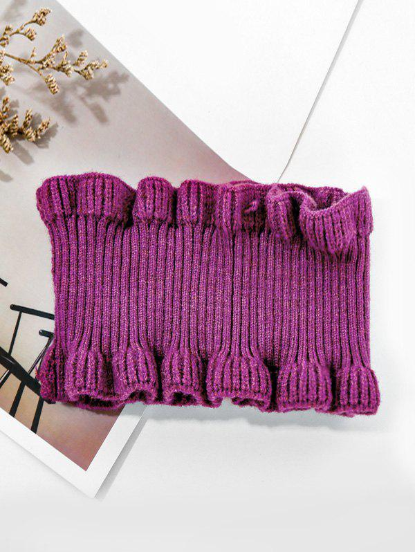 Solid Ruffle Edge Knitted Round Neck Scarf - PLUM PURPLE