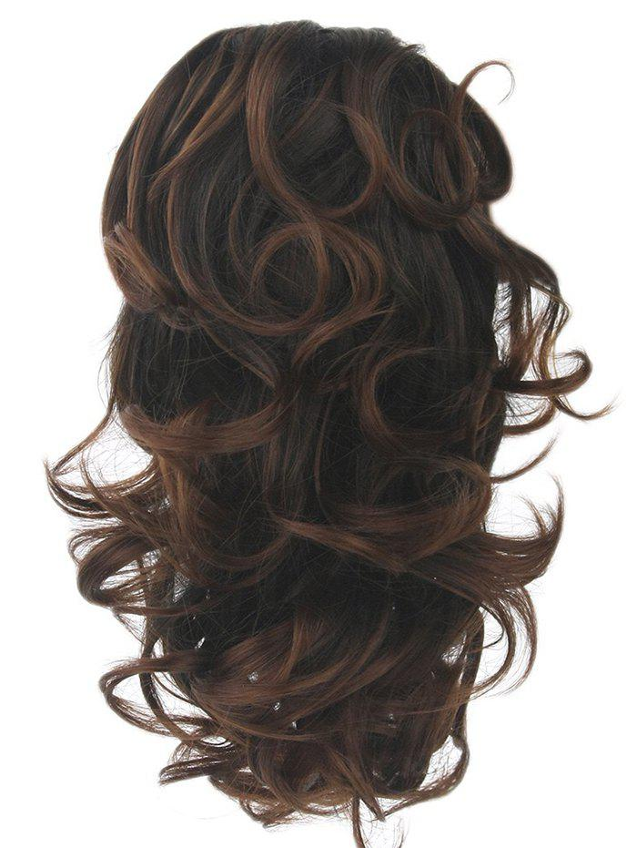 Short Loose Wave Clip Synthetic Hair Piece - COFFEE