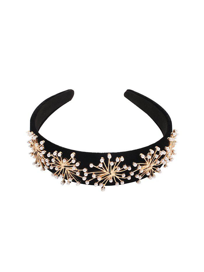 Artificial Pearl Floral Hairband - BLACK