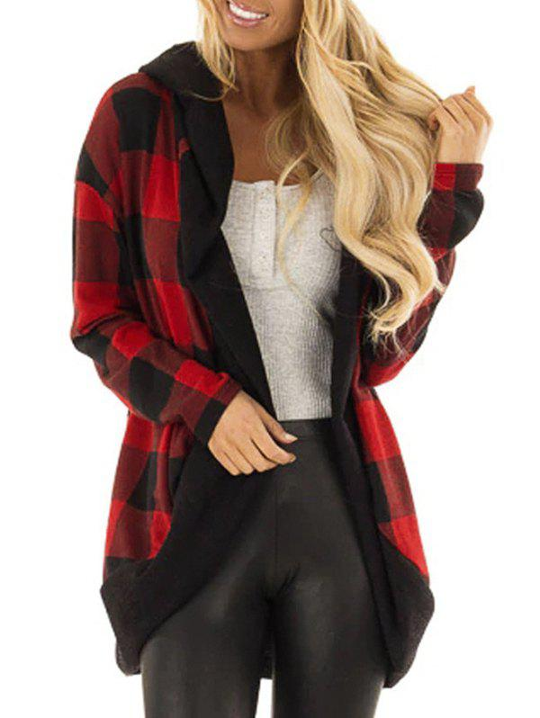 Hooded Plaid Open Cardigan - RED WINE 2XL