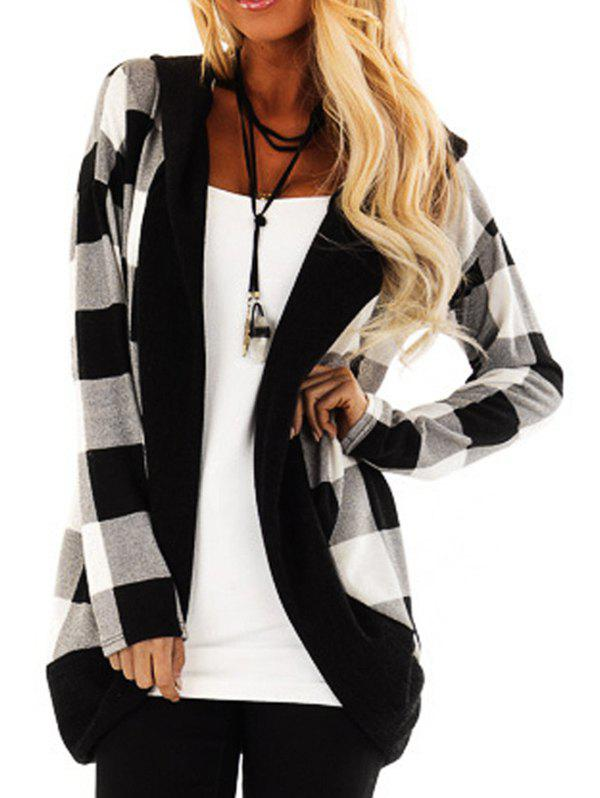Hooded Plaid Open Cardigan - BLACK M