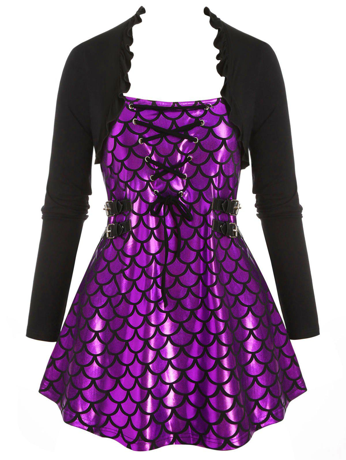 Mermaid Scales Print Flounces Lace Up Buckle Plus Size Top - PURPLE 1X