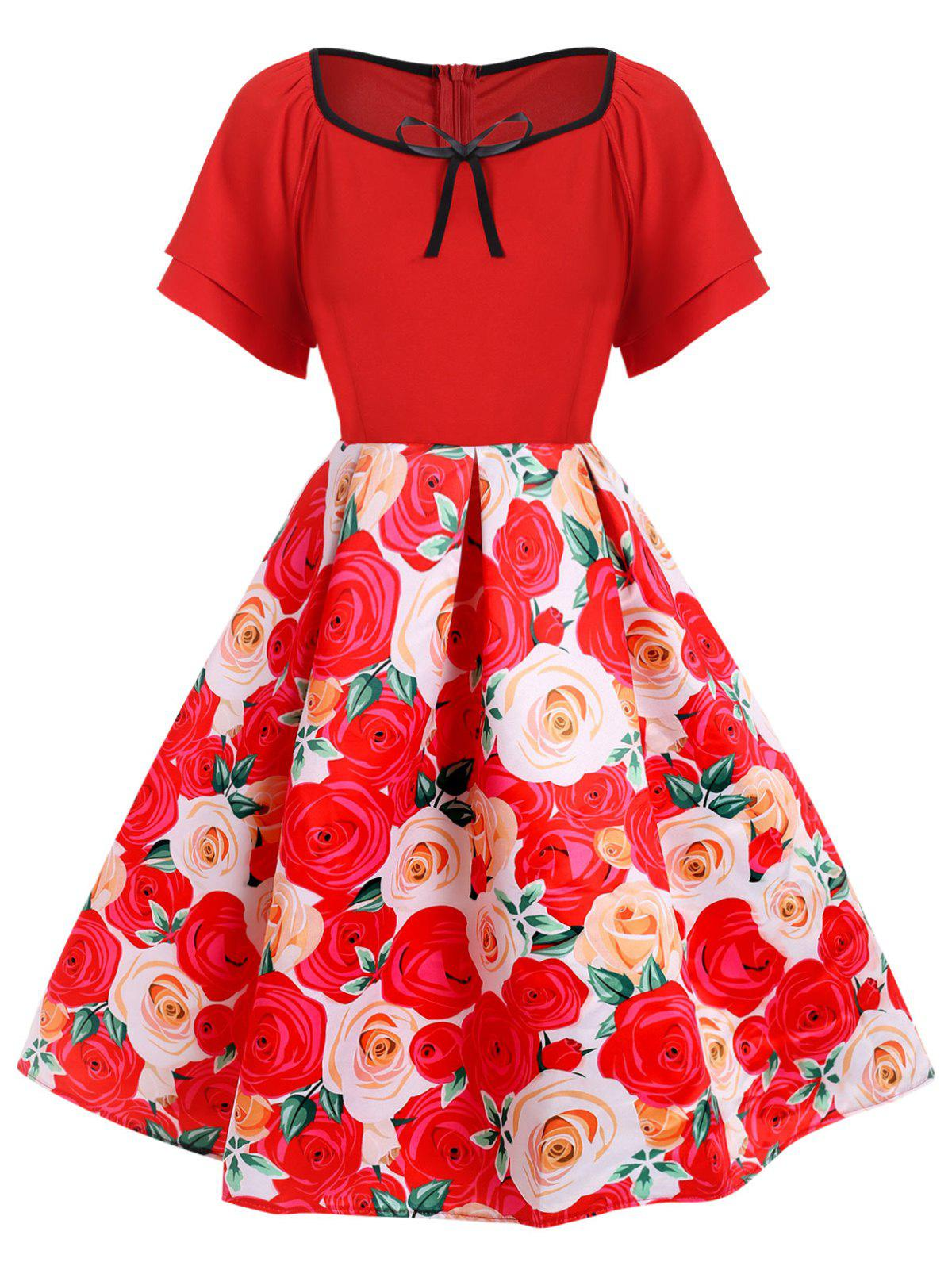 Plus Size 3D Flower Piping A Line Vintage Dress - RED 5X