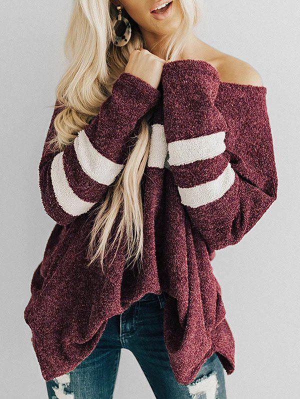 Striped-detail Oversized Sweater - RED WINE L