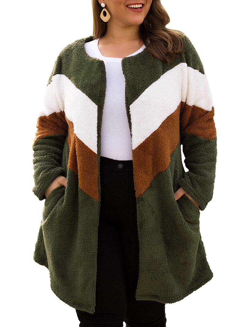 Plus Size Colorblock Faux Fur Coat - ARMY GREEN 1X
