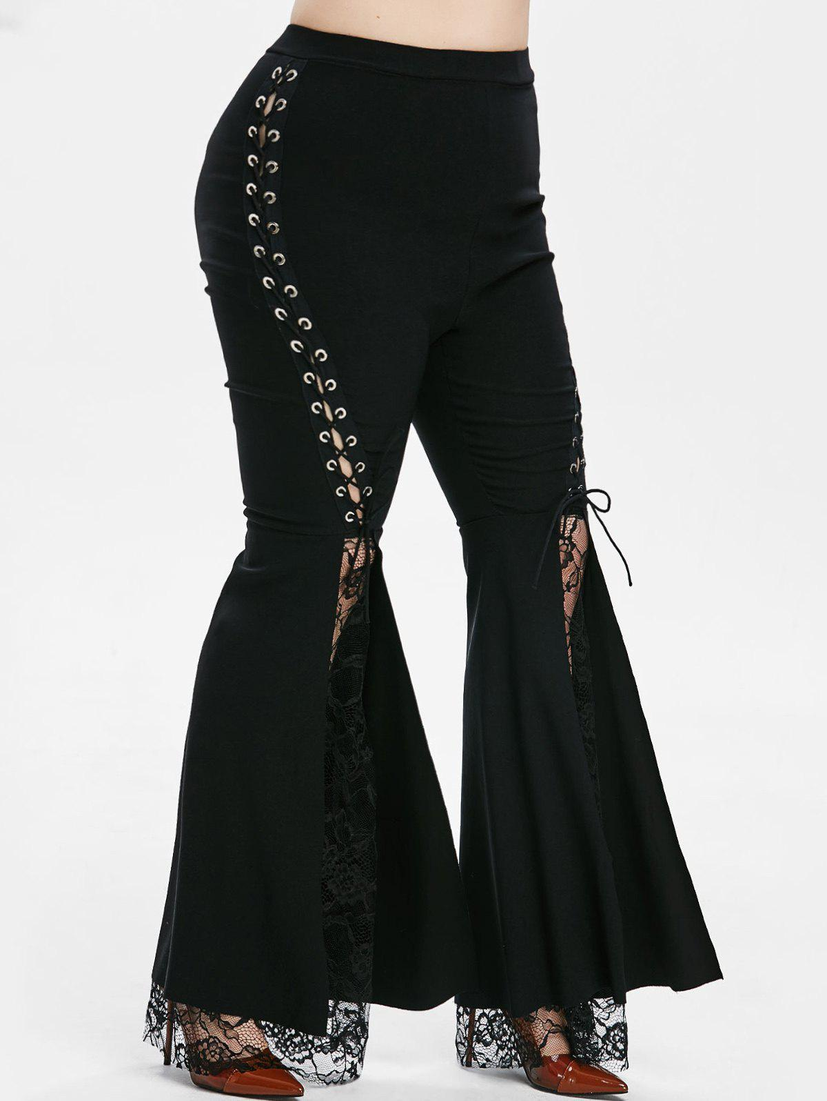 Lace Panel Lace Up High Waisted Plus Size Flare Pants - BLACK 3X