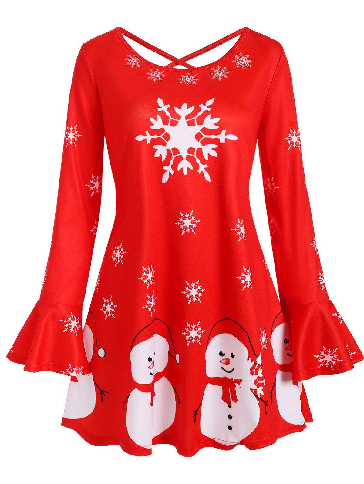 Snowman Snowflake Print Christmas Criss Cross Flare Sleeve Plus Size Top - RED 4X