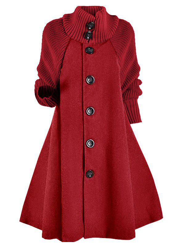 Button Up manches en tricot en laine mélangée plus Size Coat - Rouge 5X