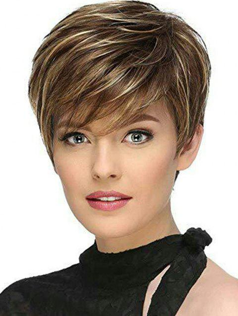 Side Fringe Colormix Short Straight Synthetic Wig - BROWN