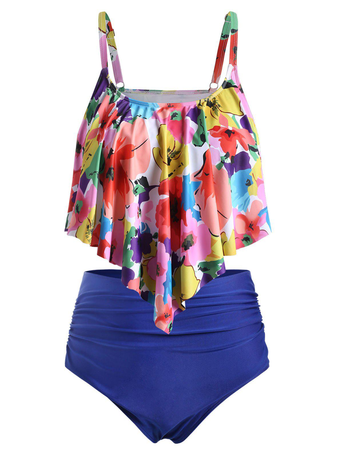 Plus Size Floral Flounce High Waisted Tankini Swimwear - NAVY BLUE L