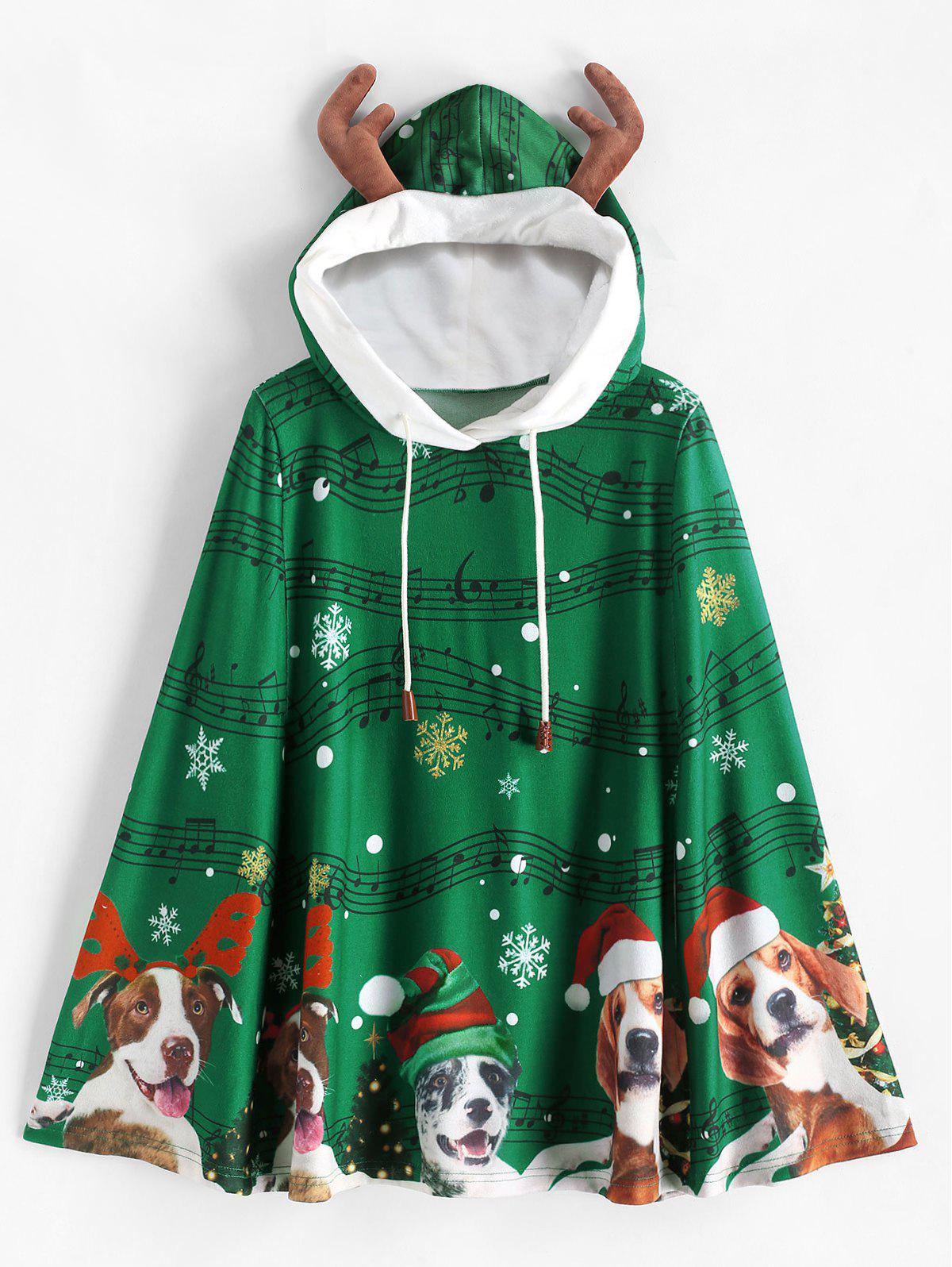 Christmas Elk Ear Musical Note Drawstring Poncho - DEEP GREEN M