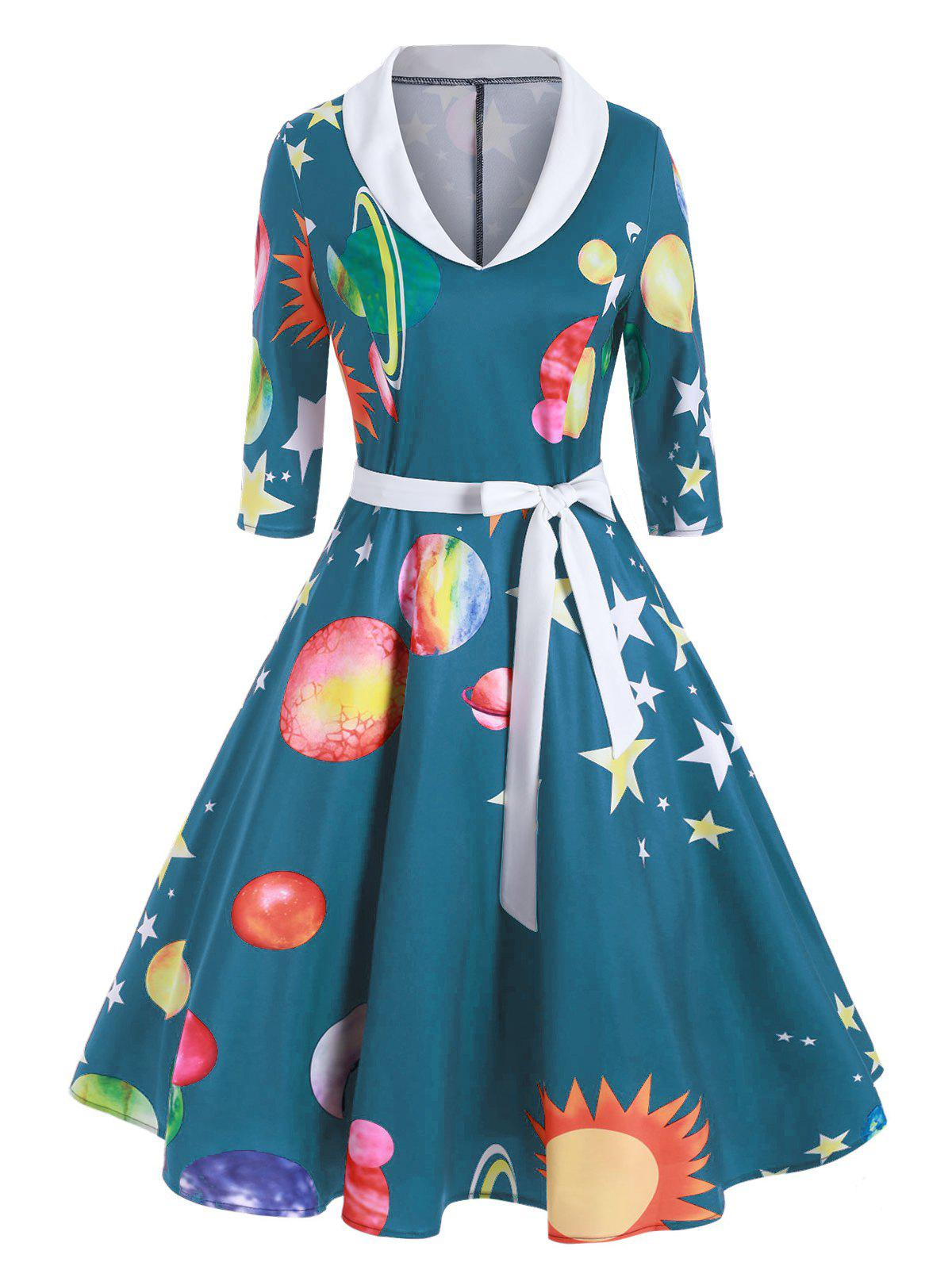 Sun Moon Star Print Shawl Collar A Line Dress - multicolor B S