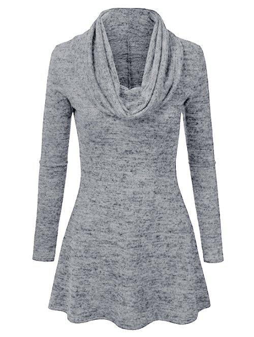 Cowl Neck Heathered Longline Tee - GRAY CLOUD L