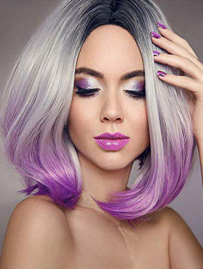 Short Middle Part Straight Ombre Bob Synthetic Wig - MEDIUM ORCHID 12INCH