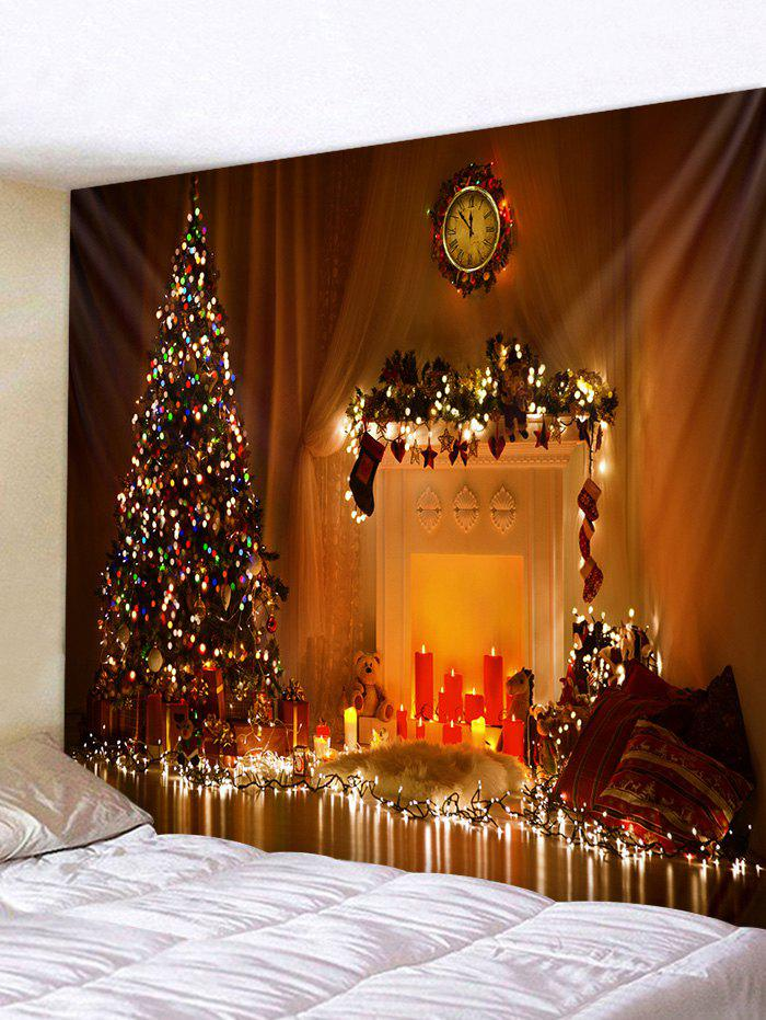 Christmas Tree Candle Fireplace Pattern Tapestry - multicolor W91 X L71 INCH