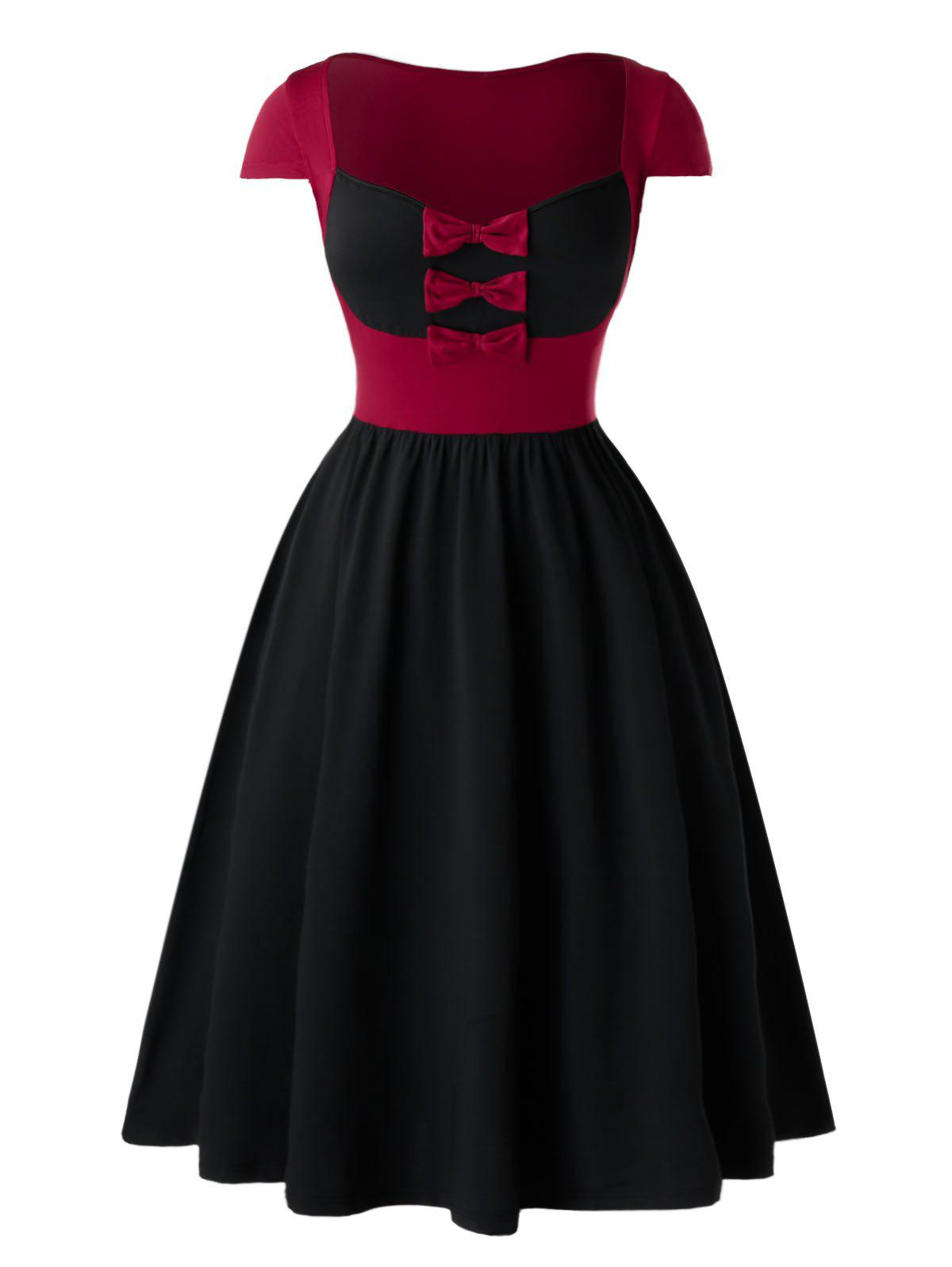 Plus Size Two Tone Bowknot Cap Sleeve Retro Dress - BLACK 2X