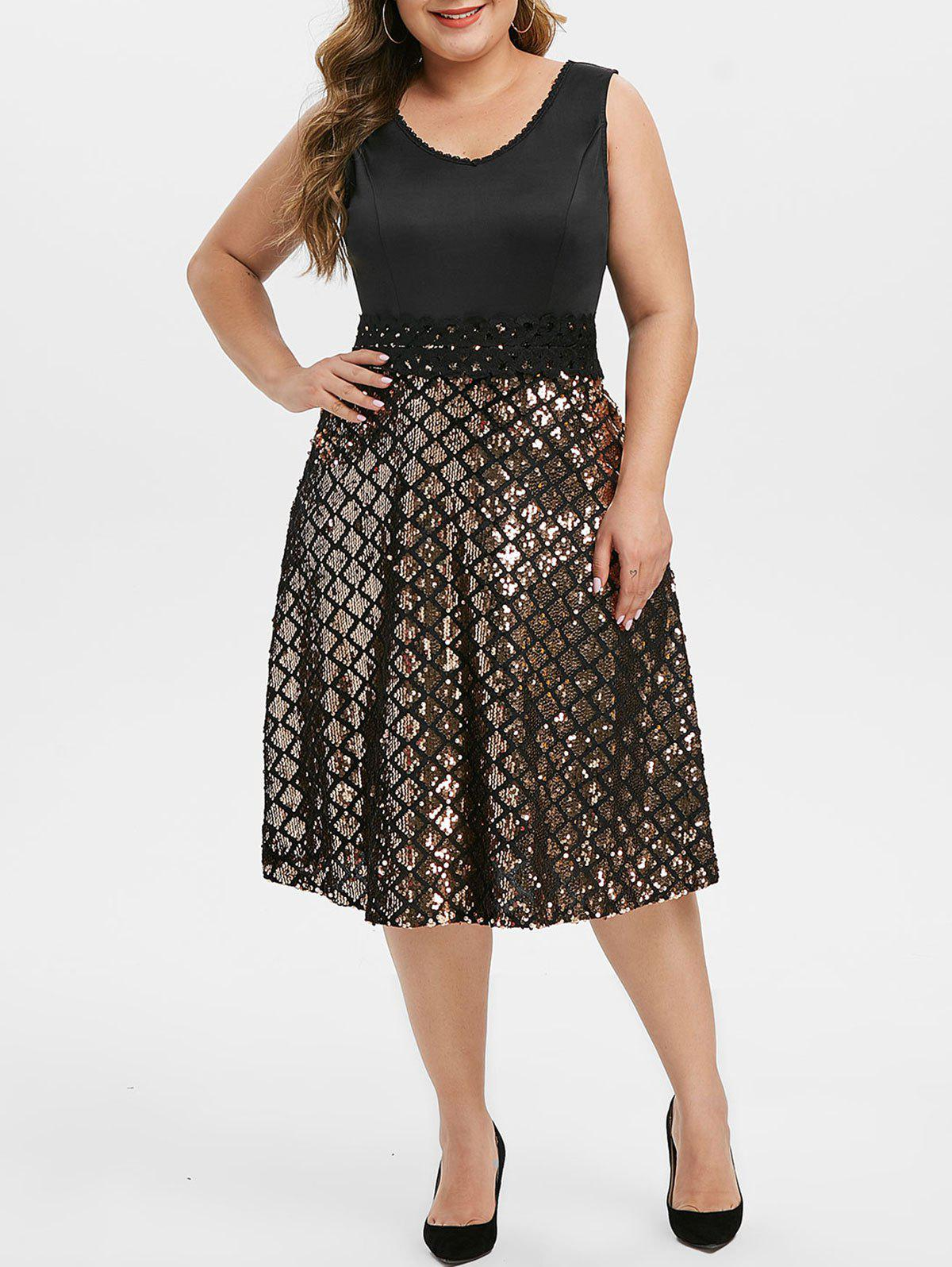 Plus Size Lace Applique Sequin Midi Party Dress - BLACK L