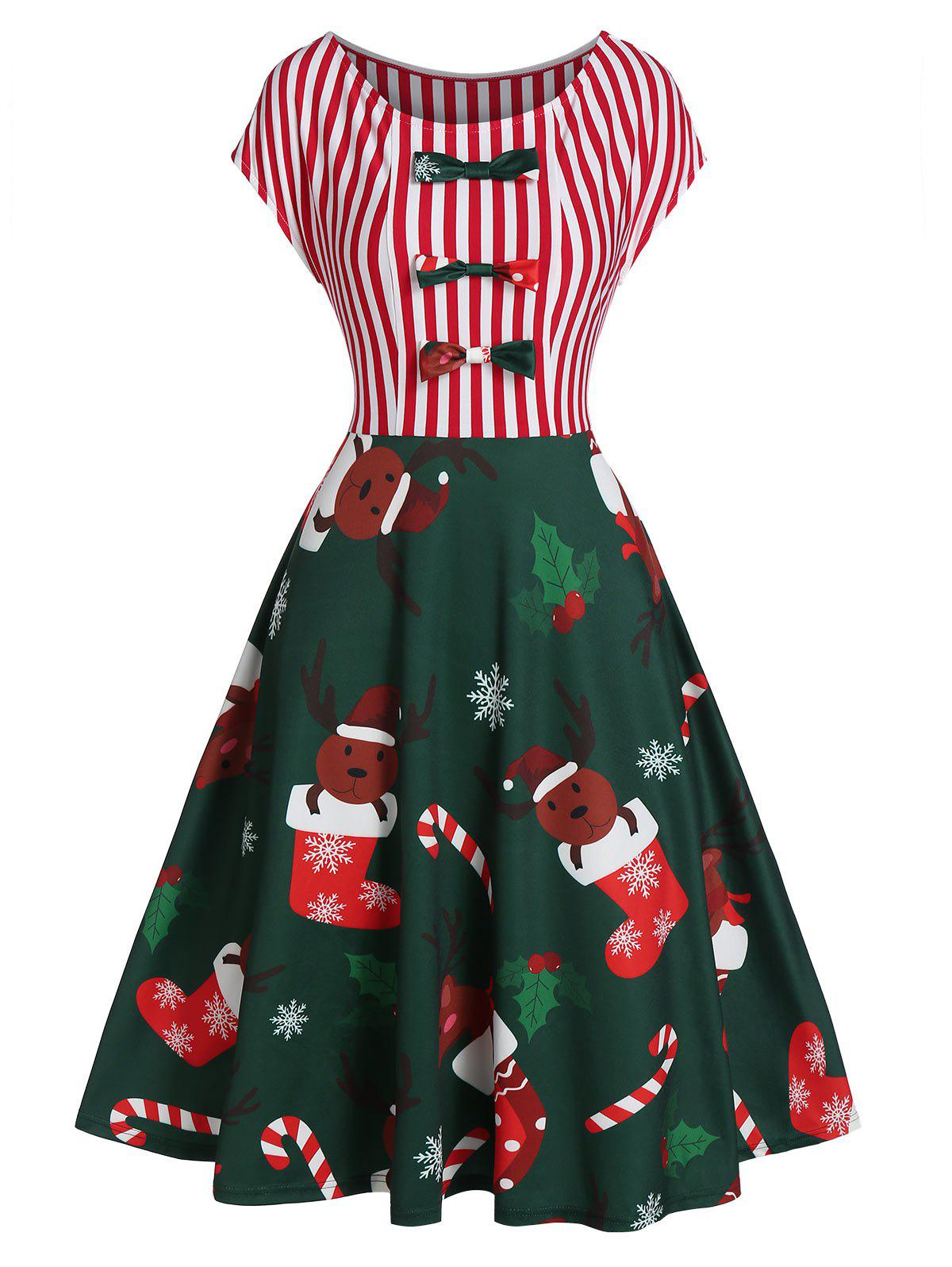 Christmas Elk Striped Printed Fit And Flare Dress - DARK FOREST GREEN M
