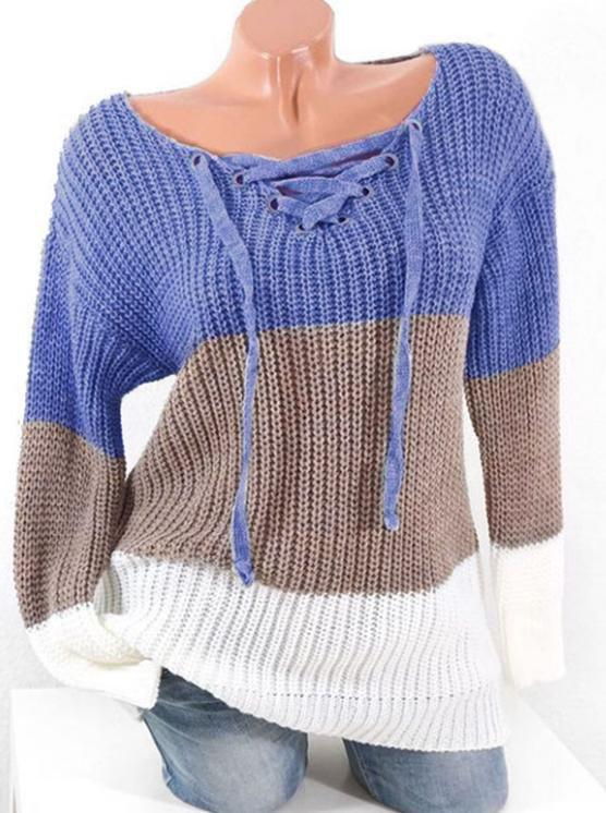 Plus Size Colorblock Lace Up Chunky Sweater - BLUE L