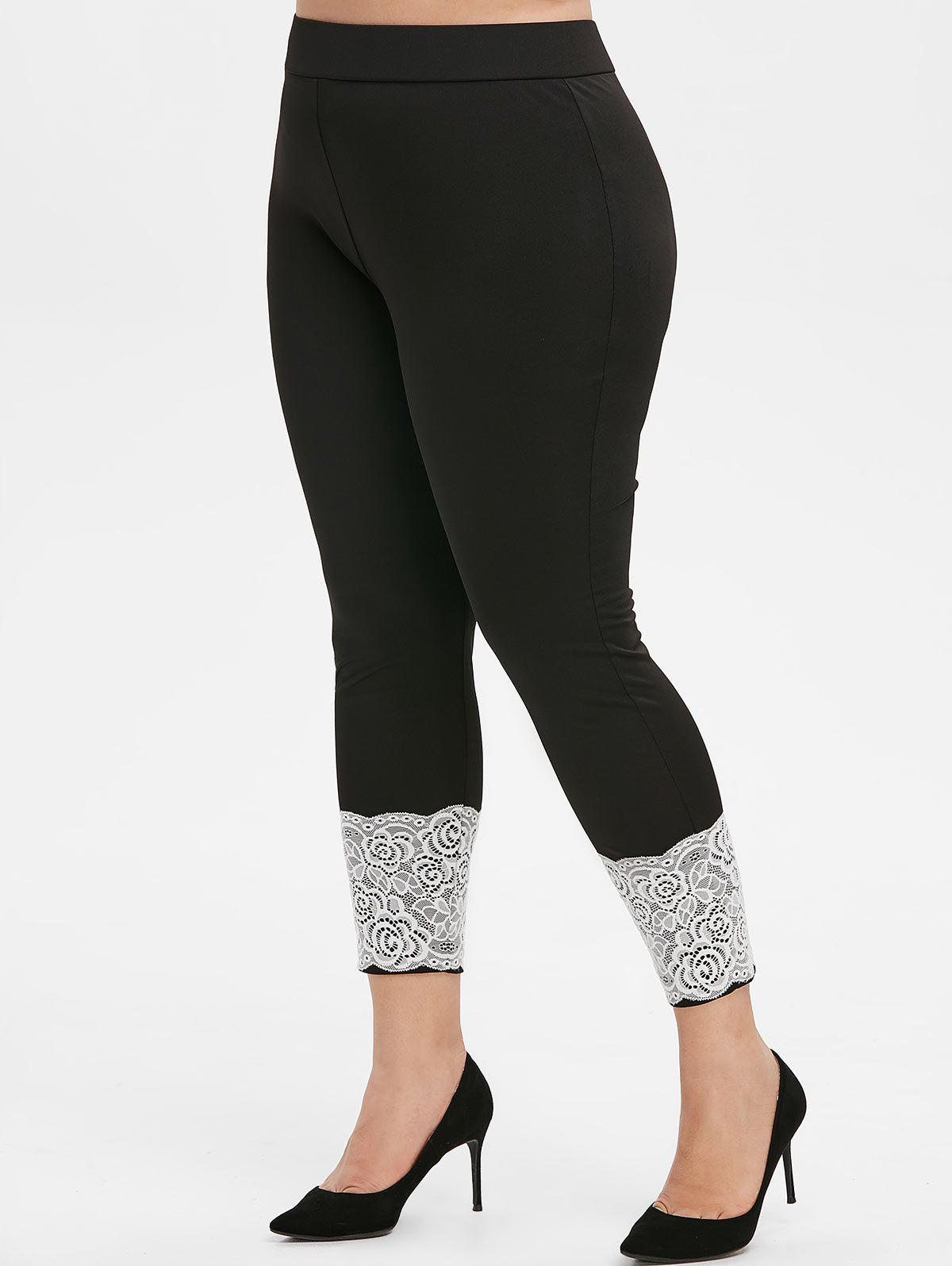 Plus Size Floral Lace Insert Fitted Leggings - BLACK 2X