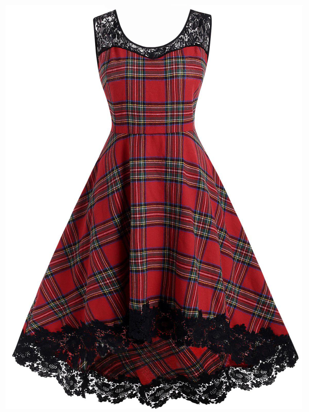 Plus Size Lace Insert High Low Plaid Dress - RED WINE 3X