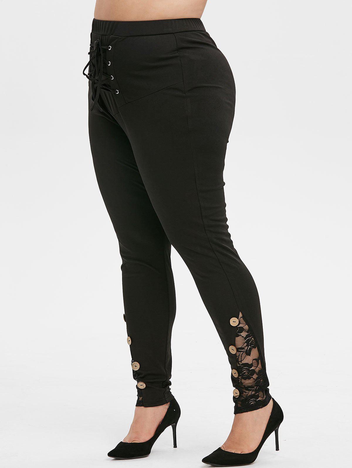 Plus Size High Rise Lace Up Boutons Skinny Leggings - Aurora Noir 5X