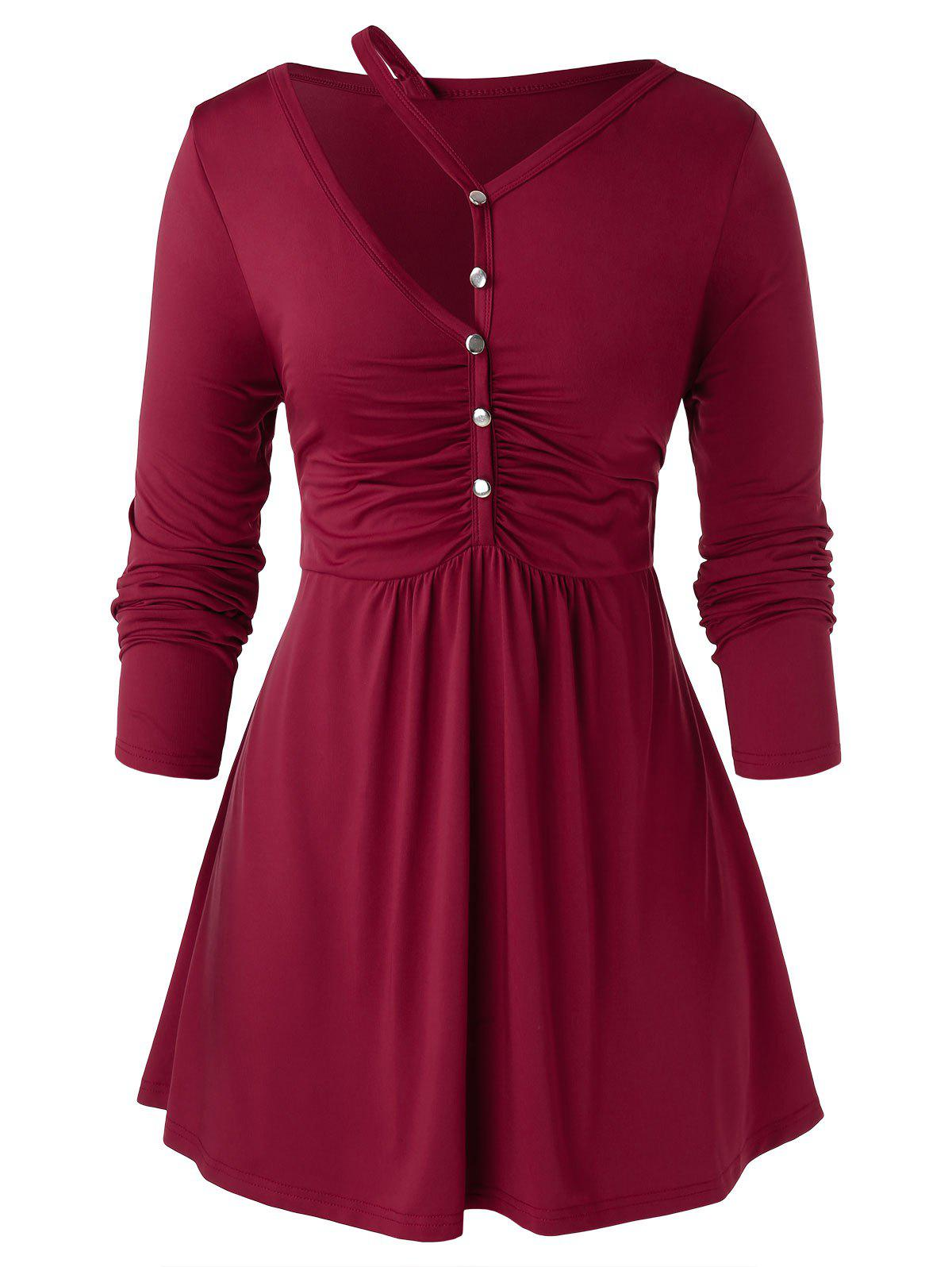 Plus Size Cut Out Ruched Skirted T Shirt - RED WINE 2X