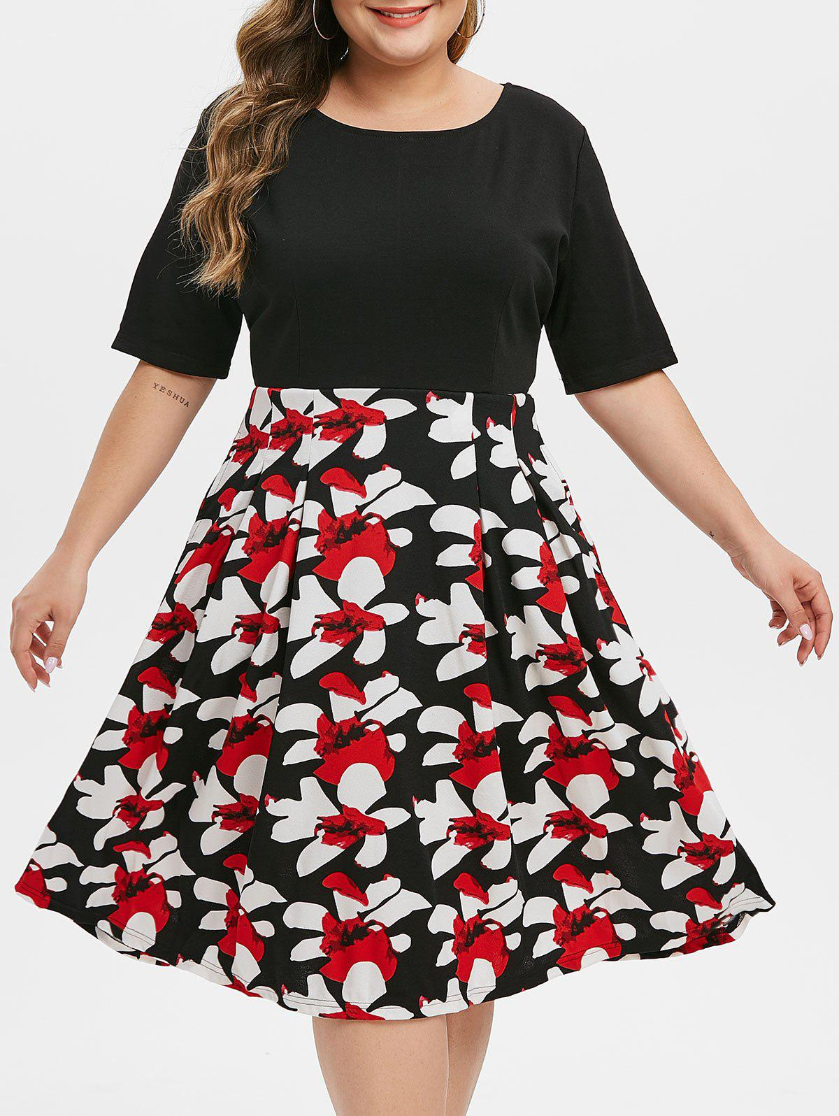 Contrast Floral Back Zipper Short Sleeve Plus Size Dress - RED M