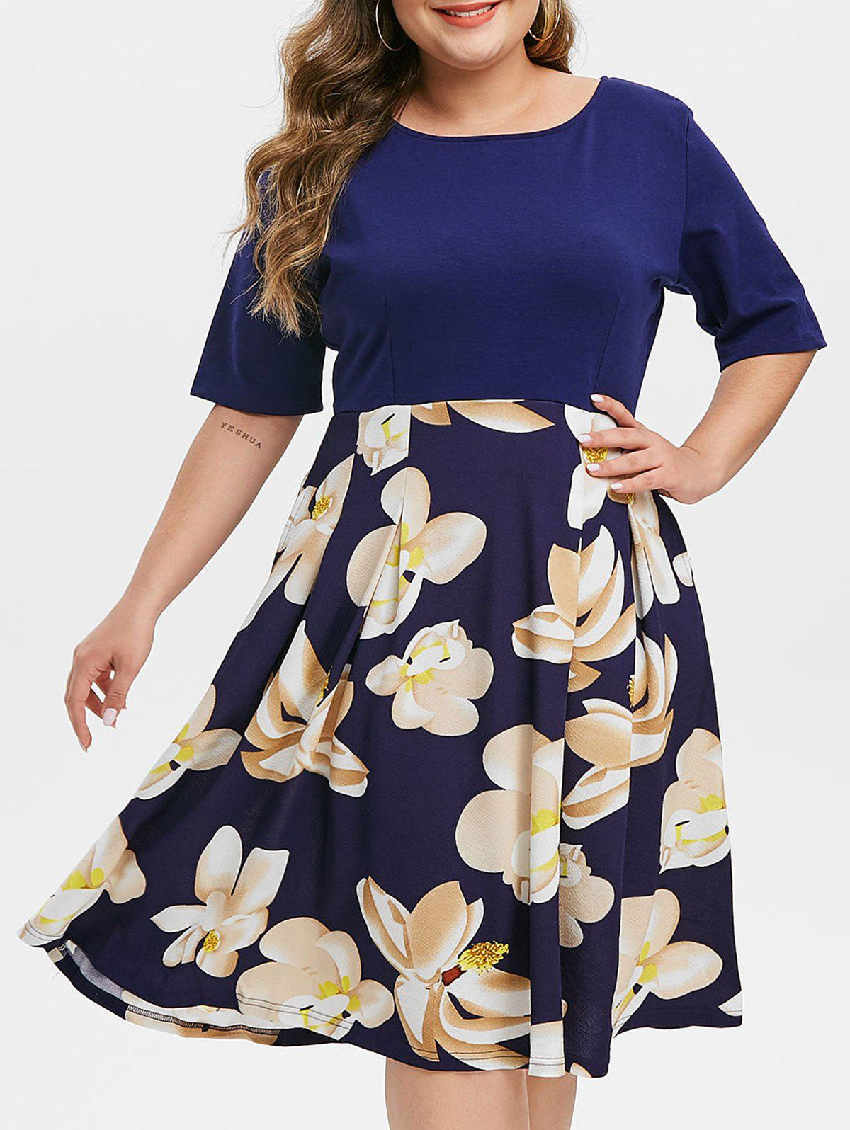 Contrast Floral Back Zipper Short Sleeve Plus Size Dress - COBALT BLUE 4X