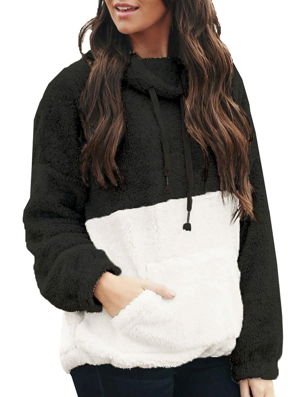 Colorblock Fluffy Drawstring Front Pocket Sweatshirt - BLACK 2XL