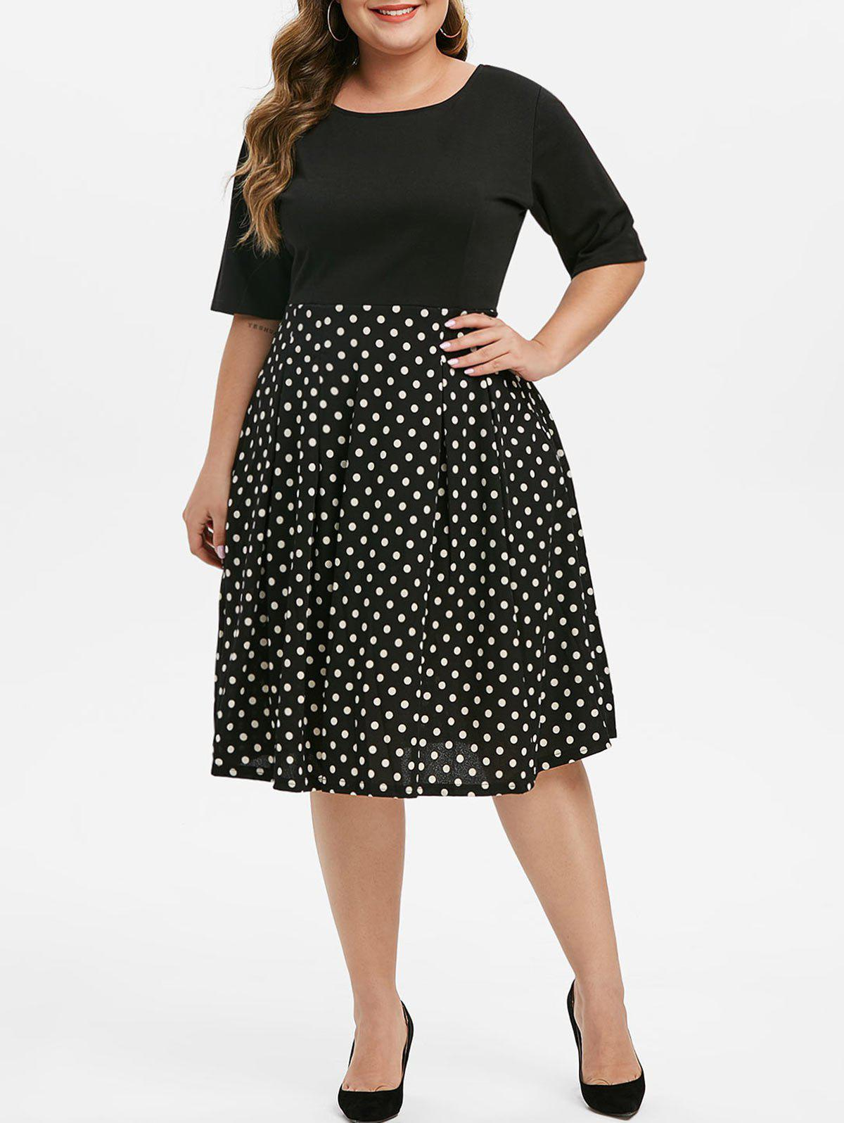 Contrast Polka Dot Back Zipper A Line Plus Size Dress - BLACK 1X