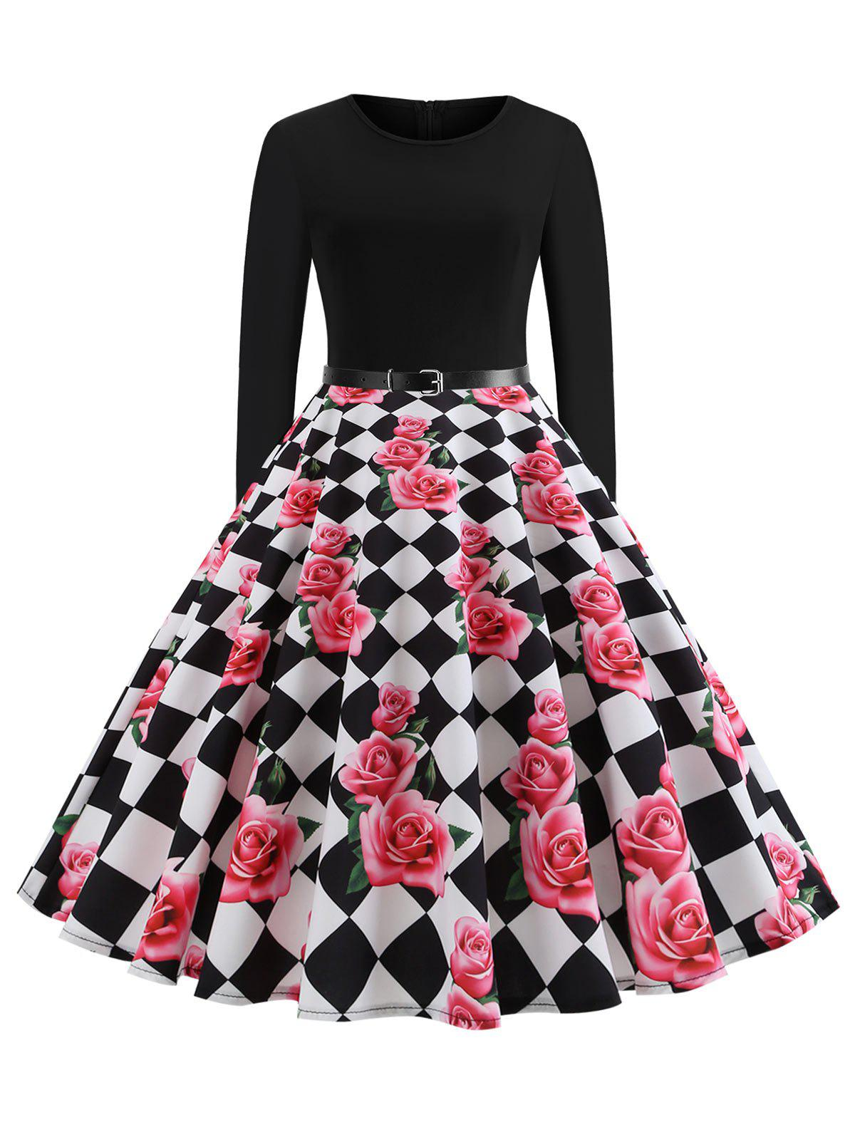 Checkered Floral Long Sleeve Plus Size Vintage Dress - PINK 3X