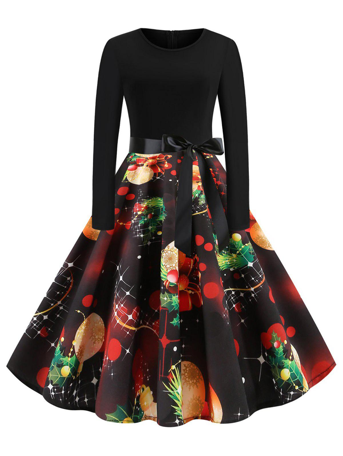 Christmas Tree Gift Lantern Print Plus Size Vintage Midi Dress - multicolor 3X