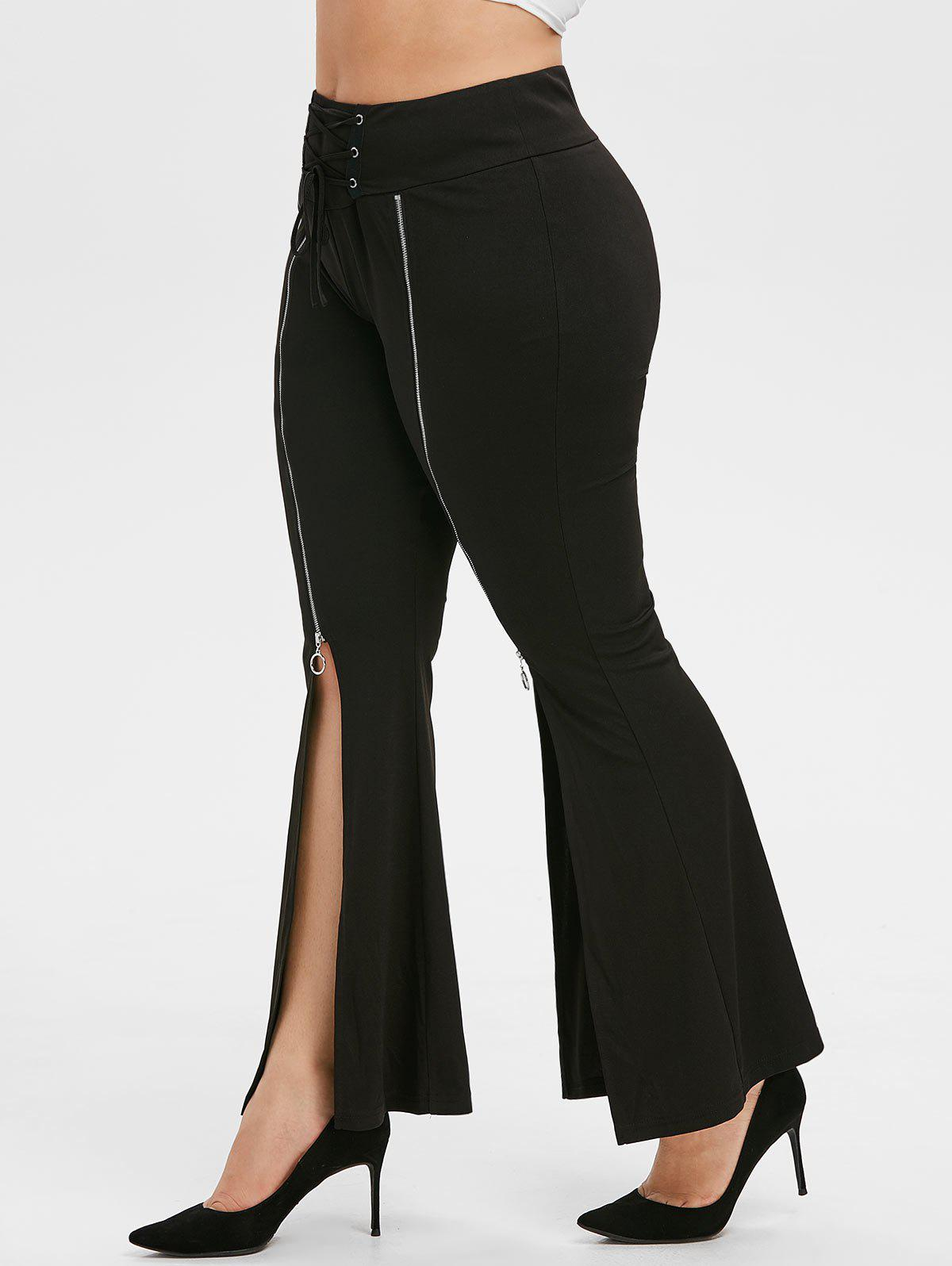 Plus Size Zipper Slit Front Lace-up Flare Pants - BLACK 2X