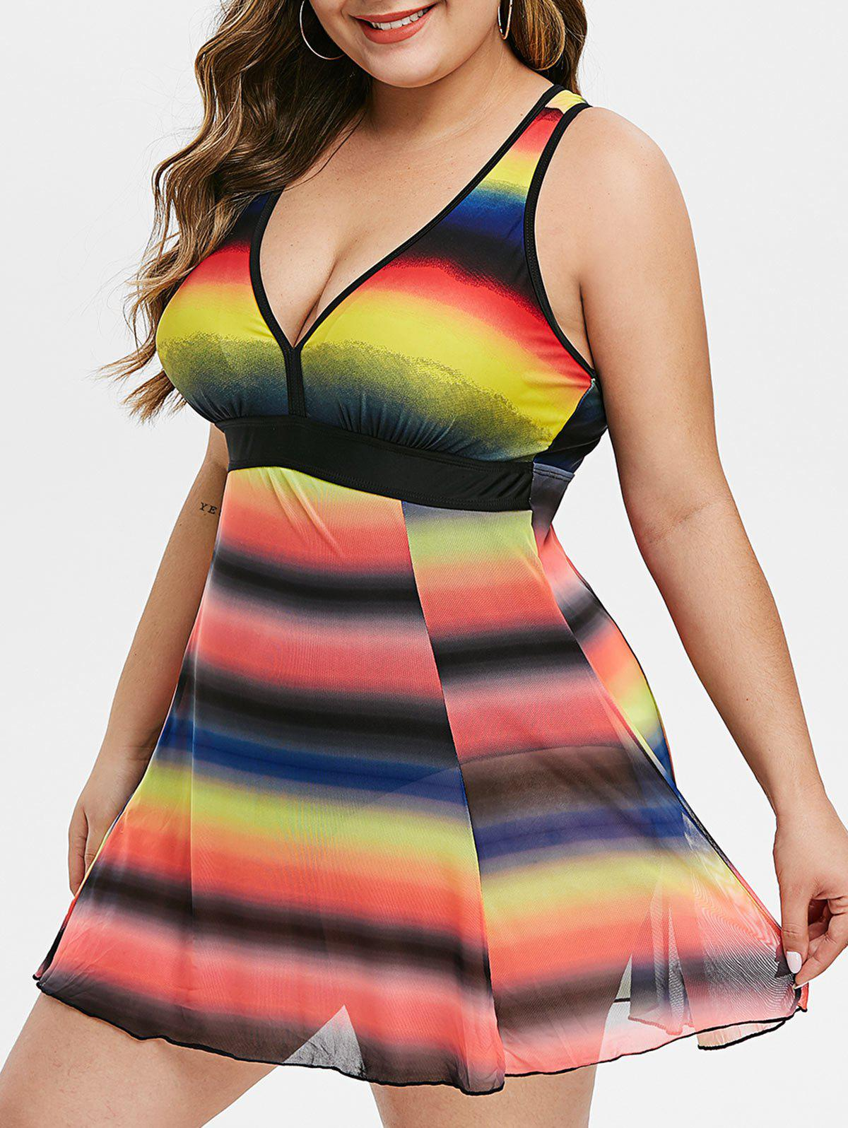 Colorful Stripes Mesh Panel Skirted Plus Size Swimsuit - multicolor 1X
