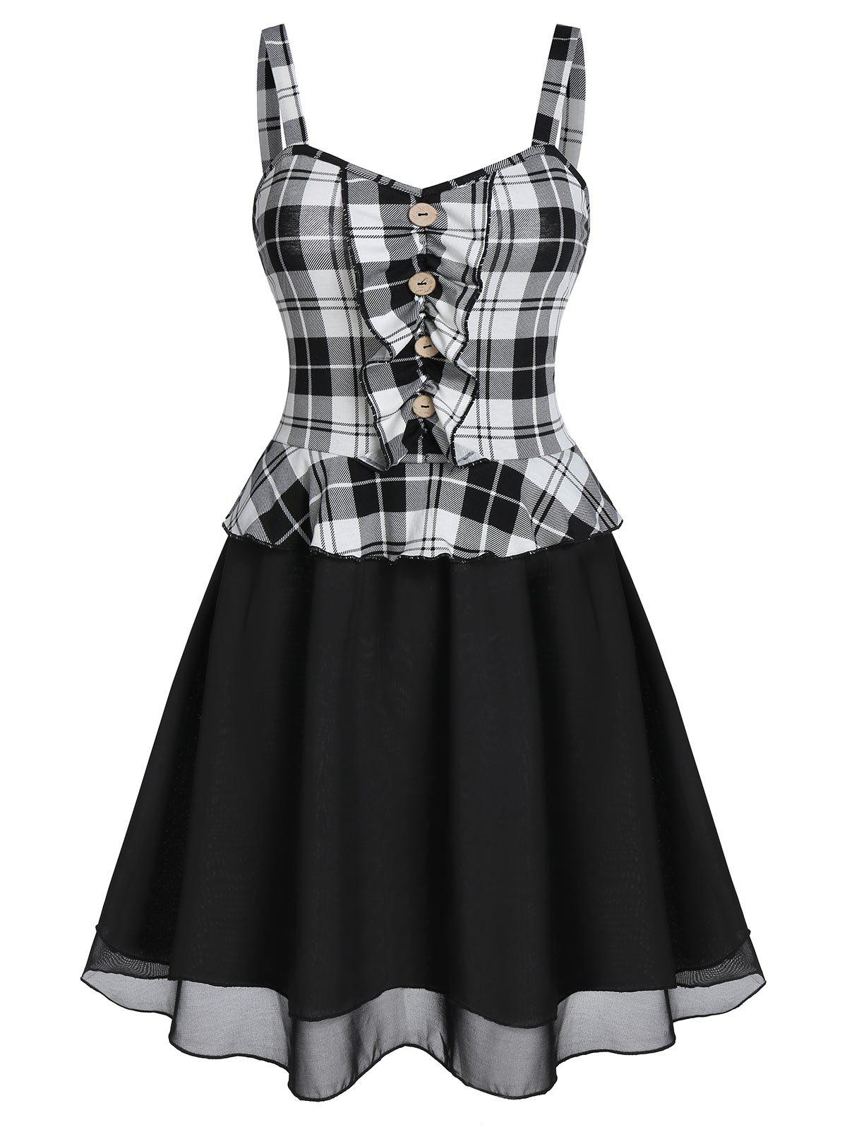 Checked Ruched A Line Mini Dress - multicolor A 2XL