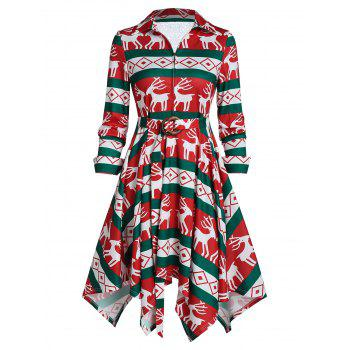 elk print belted front zip a line dress