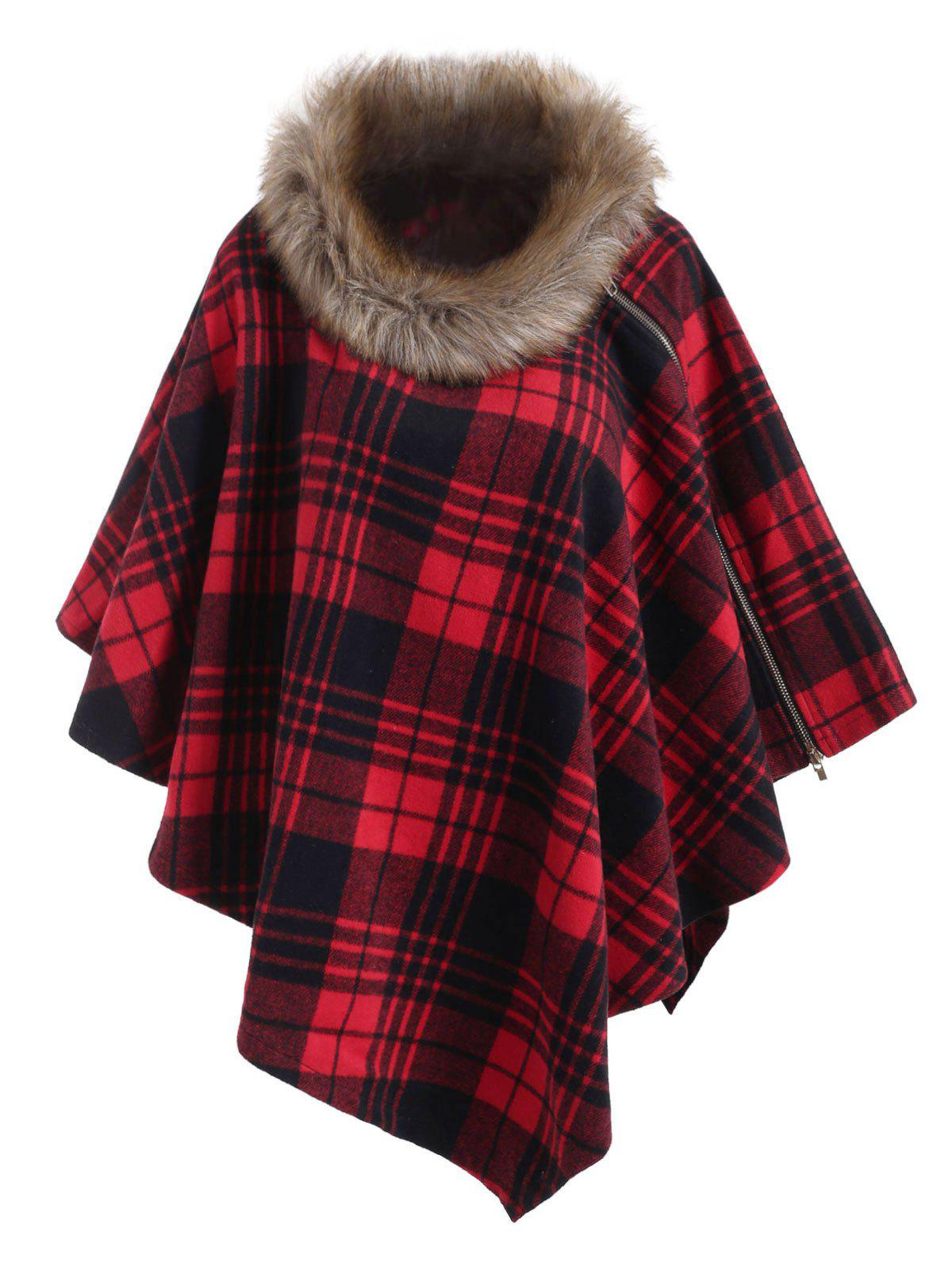 Convertible Faux Fur Collar Plaid Zipper Poncho - RED WINE M
