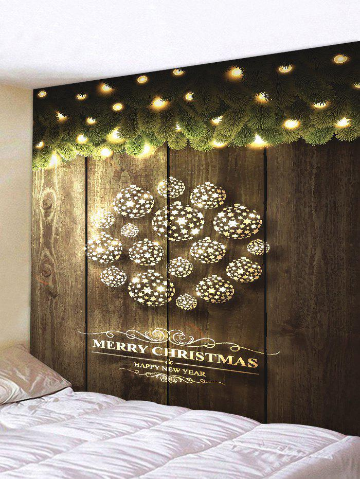 Christmas Star Ball Wood Grain Print Tapestry Wall Hanging Art Decoration - CARBON GRAY W79 X L59 INCH
