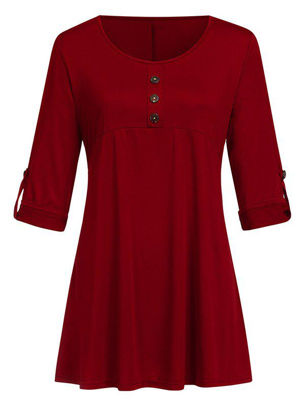 Buttoned Roll Sleeve Tunic Top - RED WINE 3XL