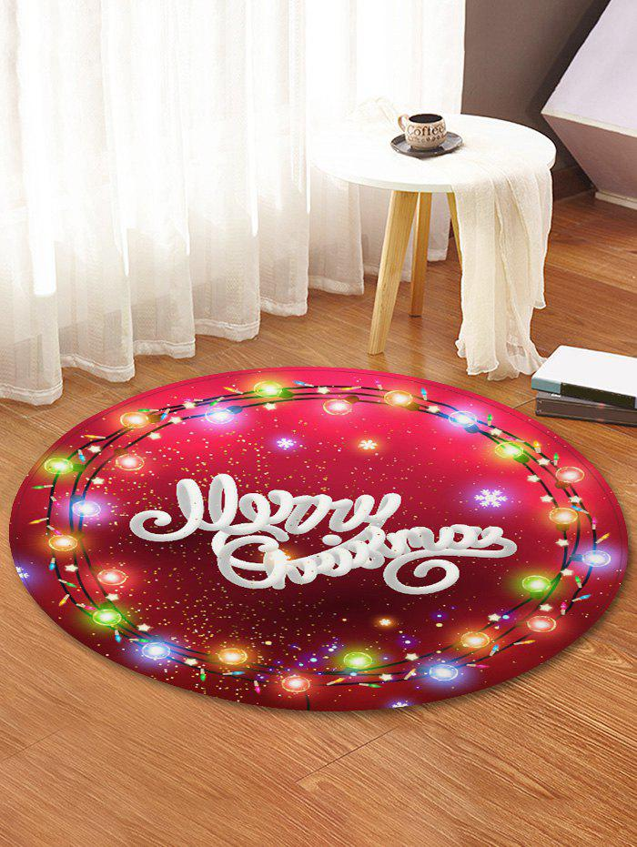 Merry Christmas Light Pattern Round Floor Rug - RED WINE R47 INCH