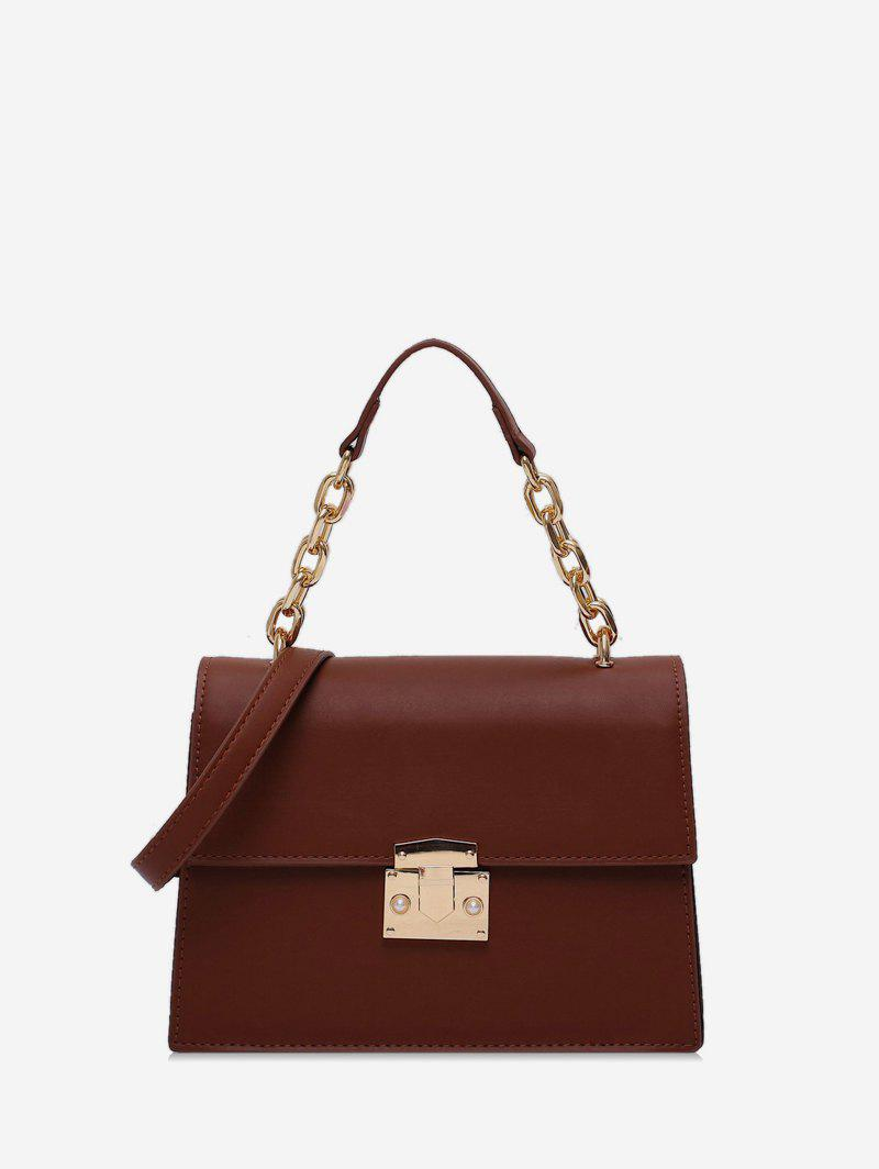 Chain Handle Square Flap Crossbody Bag - LIGHT BROWN