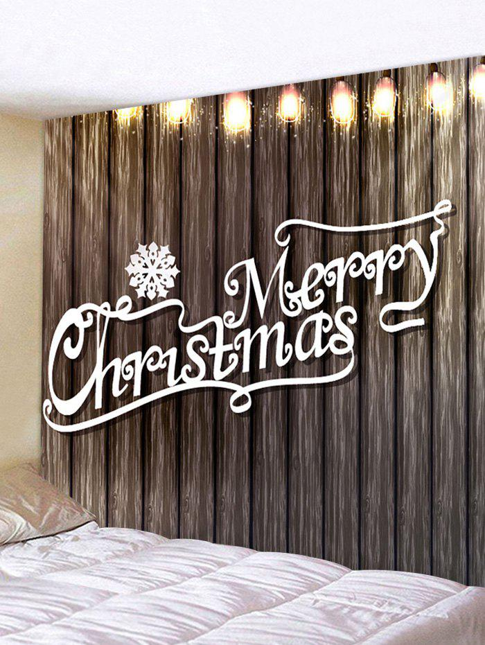 Christmas Letter Wood Grain Printing Waterproof Tapestry - multicolor W91 X L71 INCH