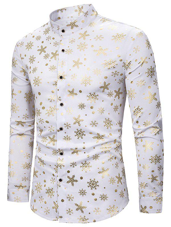 Snowflake Gilding Printed Long Sleeves Shirt - WHITE 2XL