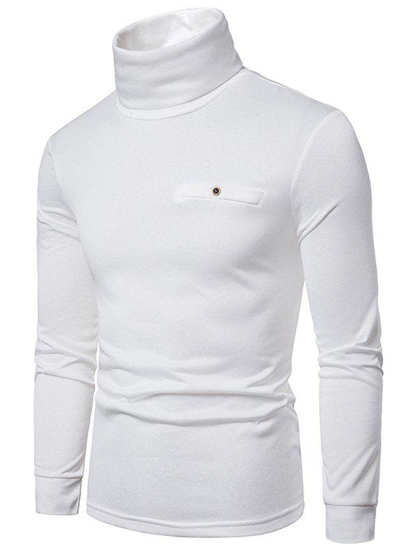 Solid Color Turtleneck Faux Pocket Fleece T-shirt - WHITE 2XL