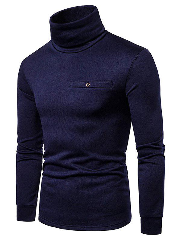 Solid Color Turtleneck Faux Pocket Fleece T-shirt - CADETBLUE L